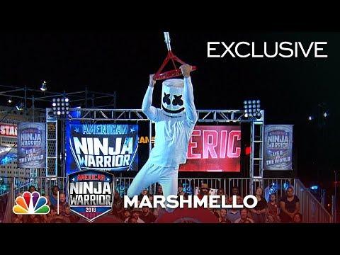 Marshmello Runs Stage 1 at the Las Vegas National Finals - American Ninja Warrior 2018 (Exclusive)