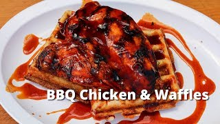 BBQ Chicken and Waffles | Grilled Chicken & Jalapeño Cornbread Waffles on Big Green Egg