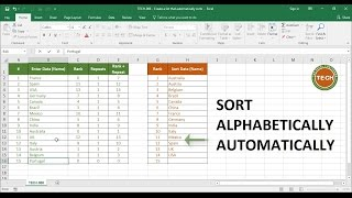 TECH 006   Create A List That Automatically Sorts Data (alphabetically) As You Enter Data In Excel
