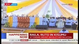 Opposition leader Raila and DP Ruto attend the Bishop Anyolo's installation in Kisumu
