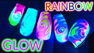 GLOW Rainbow Swirl Nail Art *untz untz*