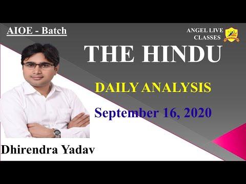 THE HINDU II DAILY ANALYSIS II 16 SEP, 20 II BY-DHIRENDRA YADAV
