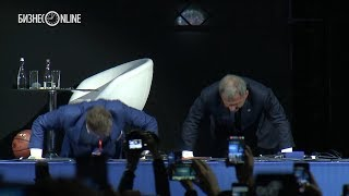 Минниханов в «Баскет-холле» отжался на форуме предпринимательства «Перезагрузка»