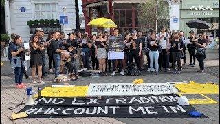 港人倫敦地鐵沿線閃唱 《孤星淚》填詞人家屬出席為香港打氣