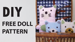 DIY Free Felt Doll Sewing Pattern Perfect Indoor Activity!
