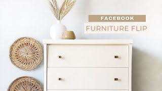 FACEBOOK FLIP | Mid Century Modern Dresser Makeover With Country Chic Paint
