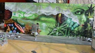 Decoración arte urbano Cannabis Fira Cornellà 2015