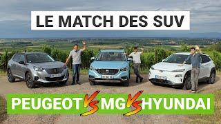 Hyundai KONA vs. Peugeot E-2008 vs. MG ZS : le match des SUV électriques
