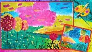 Уроки рисования  Дети рисуют осень  Пейзаж  Children paint an autumn
