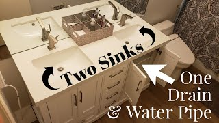 Install Double Bowl Sink Vanity w/ Only One Wall Water Pipe Connection & Drain Pipe Using PVC