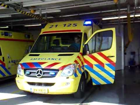 Sirene van ambulance 21-125 bij post Haps