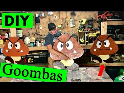 DIY Super Mario Wall Art! Life size  Goomba made from wood.