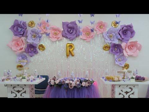 Flor gigante (rosa)Decorando baby Shower / como hacer las plantillas para las flores a papel