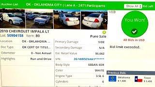 Copart Auction Live Bidding + Win!!! 86K Mile 2010 Impala!!