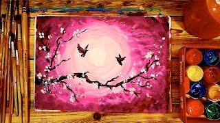 Как нарисовать САКУРУ и закат / Урок рисования для детей