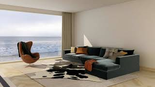 3D  COASTAL LIVING ROOM DESIGN