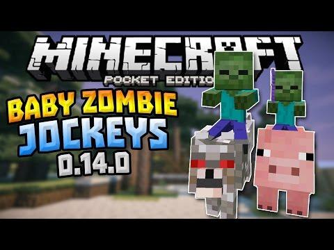 BABY ZOMBIE JOCKEYS in MCPE!!! - 0.14.0 New Exclusive Jockeys - Minecraft PE (Pocket Edition)