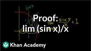 Proof: lim (sin x)/x