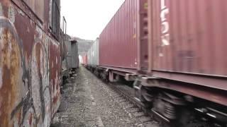 preview picture of video 'České dráhy (ČD) Güterzug in Velké Březno/ (ČD) freight train stopping at Velké Březno'