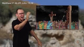 Matthew 27:32, 39-43, 45-49, 51, 54, 57, 60; Mark 15:22-23, 25; Luke 23:33-34, 39-43, 46; John 19:19-28, 30-41