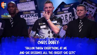 "Chris Dobey: ""Fallon threw everything at me and she deserves all the credit she gets"""