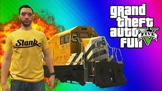 GTA 5 Stopping the Train! (How to Stop the Train, Train Glitch, Online Funny Moments&Fails)
