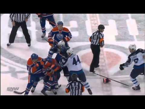 Nail Yakupov Zach Bogosian spearing major & fight Winnipeg Jets vs Edmonton Oilers 12/23/13 NHL