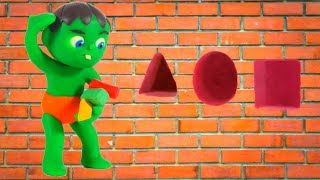 KIDS PLAYING WITH SHAPES ❤ SUPERHERO PLAY DOH CARTOONS FOR KIDS