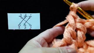 19 Урок. Перекрещенные из 3 столбиков с 1 накидом. Техника быстрого вязания. Крючок для начинающих.