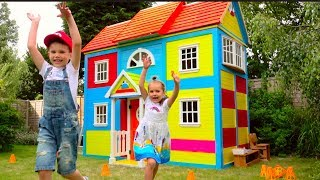 DIY 2 этажный ДОМ 4 комнатный для детей и РУМ ТУР или Pretend Play in DIY Playhouse for children