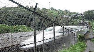 雨を切り裂く新幹線!山陽新幹線高速通過集[船穂地区]