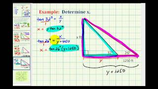 Example 3:  Determine An Unknown Length Using Right Triangle Trigonometry