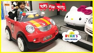 TOYS FOR KIDS! TOY HUNT Shopping Trip for Toys for Tots donation for boys and girls Ryan ToysReview