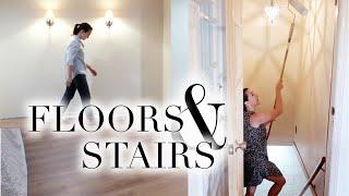 Laying Floors + Painting Stair Walls | BASEMENT RENOVATION