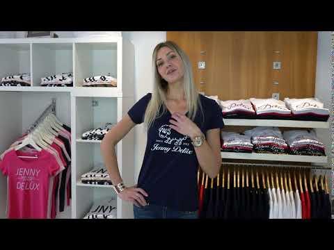 Jenny Delüx T-Shirt blau mit weiße Glitzer Schäfchen