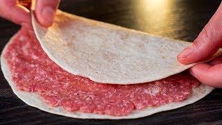Намажьте лаваш фаршем и насладитесь результатом! Такого блюда вы еще не готовили! | Appetitno.TV