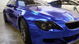 BMW M6 Full Wrapped in Blue Chrome with door jams by Impressive Wrap