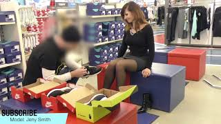 Jeny Smith Walks Around The Shopping Mall In A Fashion Mini Skirt And Tries On High Heels