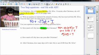 Real Life Math - Two (2) Step Equations - Algebra