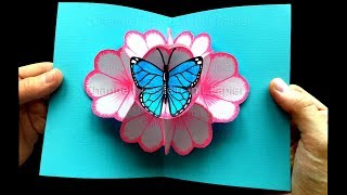 Basteln mit Papier: Pop Up Karten Blumen & Schmetterling selber machen 🌸 DIY Geschenke