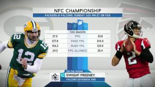 Falcons Defensive End Dwight Freeney talks about playing Aaron Rodgers  (1/16)