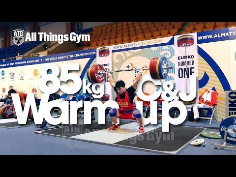 85kg Warm up Area Clean & Jerk Almaty 2014 World Championships w/ Tian Tao Okulov Aukhadov