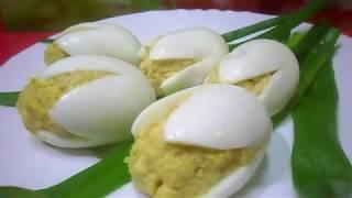 """Закуска из Фаршированных Яиц на праздник   """"Белые Тюльпаны"""""""