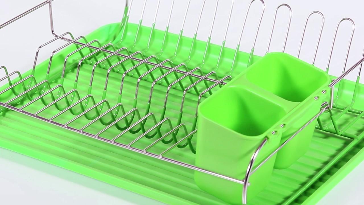 Video von: Abtropfgestell mit Besteckhalter grün