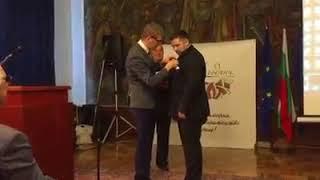 Церемония награждения орденом Петр Великий в Софии на 75 летие многомиллионой организации Отечествен