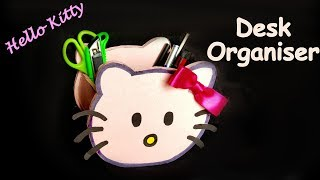 DIY- How To Make HELLO KITTY Pen Stand /pencil Holder / Desk Organiser From Paper? Kids Craft Ideas.