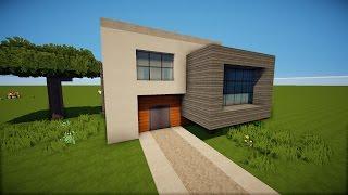 Minecraft Modernes Haus Mit Wintergarten Braunweiß Bauen Tutorial - Minecraft haus bauen deutsch
