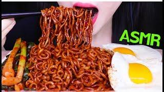 ASMR BLACK BEAN NOODLES SUNNY SIDE UP EGGS KIMCHI 짜파게티 파김치 먹방 (EATING SOUNDS) NO TALKING MUKBANG