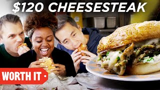 "Quinta B joins us in her hometown for Philly Cheesesteaks!   Follow Worth It on Instagram: https://www.instagram.com/buzzfeedworthit/   Watch on Hulu:  https://hulu.tv/2DUZ20N   Watch on Amazon Instant Video:  http://amzn.to/2s4ggaA   Check out our BuzzFeed Original Series Channel on Roku: http://bit.ly/2DUnOlE  Food lovers Steven Lim and Andrew, along with their cameraman Adam, embark on the ultimate food adventure in BuzzFeed's hit series, Worth It, trying delicious foods at three price points: affordable, middle tier, and luxury. At the end of the episode, the gang decides which item is the most ""worth it"" at its given price.  Credits: https://www.buzzfeed.com/bfmp/videos/49769  Check out more awesome videos at BuzzFeedVideo! https://bit.ly/YTbuzzfeedvideo https://bit.ly/YTbuzzfeedblue1 https://bit.ly/YTbuzzfeedviolet  GET MORE BUZZFEED: https://www.buzzfeed.com https://www.buzzfeed.com/videos https://www.youtube.com/buzzfeedvideo https://www.youtube.com/asis https://www.youtube.com/buzzfeedblue https://www.youtube.com/buzzfeedviolet https://www.youtube.com/perolike https://www.youtube.com/ladylike  BuzzFeedVideo BuzzFeed Motion Picture's flagship channel. Sometimes funny, sometimes serious, always shareable. New videos posted daily!  Love BuzzFeed? Get the merch! BUY NOW: https://goo.gl/gQKF8m  MUSIC Luxury Living_Full Licensed via Warner Chappell Production Music Inc. Doncha Feel Betta_FullMix Licensed via Warner Chappell Production Music Inc. Party Night_AltMixv1Undrscr Licensed via Warner Chappell Production Music Inc. My Funky Valentine_fullmix Licensed via Warner Chappell Production Music Inc. Quirky By Nature_Full Licensed via Warner Chappell Production Music Inc. Monkey Funk_30Edit Licensed via Warner Chappell Production Music Inc. Savoir Faire_Main Licensed via Warner Chappell Production Music Inc. Genesis_Main Licensed via Warner Chappell Production Music Inc. Funk Train Licensed via Warner Chappell Production Music Inc.  Licensed via Audio Network SFX Provided By AudioBlocks (https://www.audioblocks.com)   EXTERNAL CREDITS Mark Twersky www.barclayprime.com + Joshua Noh https://www.ginandpop.com + Joseph Clementi www.johnsroastpork.com"