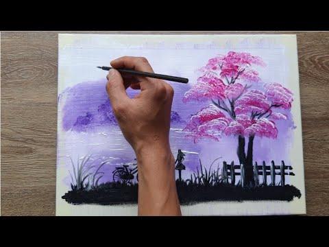 VẼ TRANH PHONG CẢNH | BÊN BỜ SÔNG | Acrylic painting